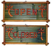 Open/Closed Bamboo Sign