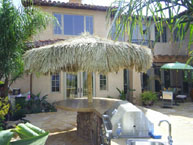 Single Pole Palm Palapa in an Outdoor Counter